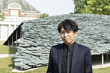 Architect Junya Ishigami in front of the Serpentine Pavilion 2019 which he designed, on the Serpentine Gallery's lawn in Kensington Gardens, Lond... - ARC108846